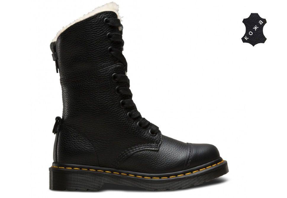 Кожаные женские ботинки на меху Dr.Martens Aimilita FL 22694001 черные 7795b867d4c73