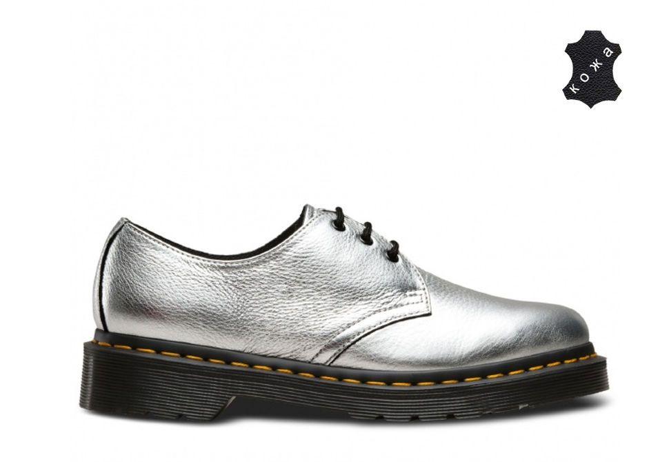 824852eb Кожаные женские ботинки Dr.Martens 1461 MET 22960040 серебристые ...