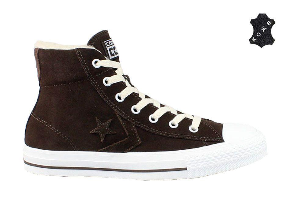 7a5b2911 Зимние кожаные кеды Converse (конверс) Star Player EV 139696 коричневые