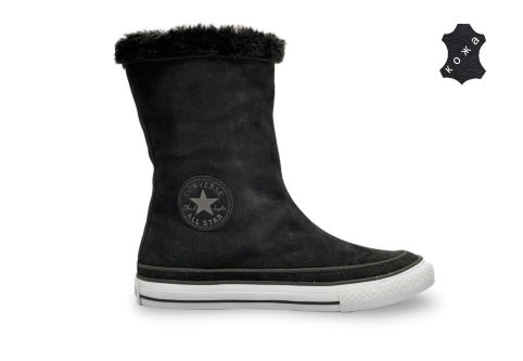Кожаные кеды Converse (конверс) Chuck Taylor All Star Beverly Boot 525940 черные