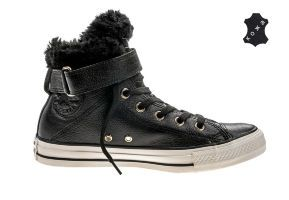 Кожаные кеды Converse Chuck Taylor All Star Brea Leather + Fur 553394 черные