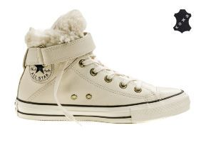 Кожаные кеды Converse Chuck Taylor All Star Brea Leather + Fur 553396 бежевые