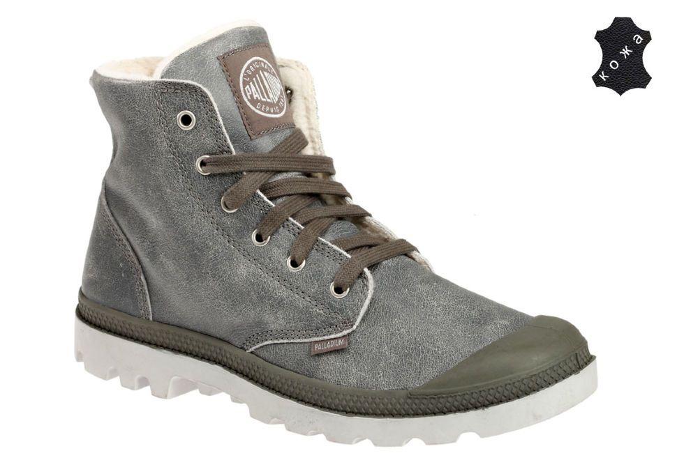 Зимние мужские ботинки Palladium Pampa Hi Leather S 02609-049 серые ... 29028dac3a32e