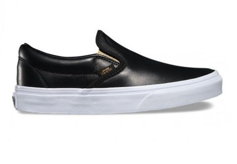 Кожаные кеды Vans Classic Slip-On (Metallic Gore) V004MPJRB черные