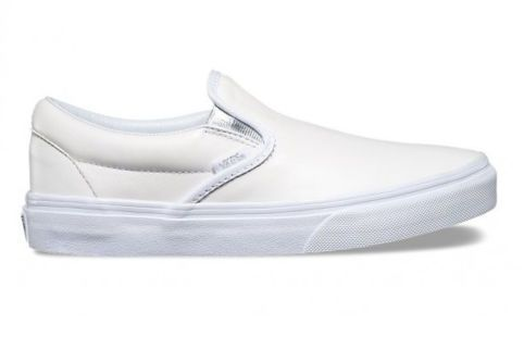 Кожаные кеды Vans Classic Slip-On (Metallic Gore) V004MPJRC белые