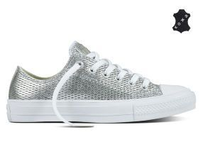 Кожаные кеды Converse Chuck Taylor All Star II 555800 серебристые