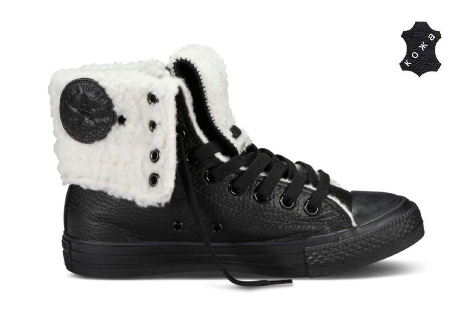 9d36774b1a74 Зимние кожаные Кеды Converse (конверс) Chuck Taylor All Star Knee-Hi 544987  черные
